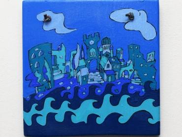 plavi herceg novi, akril na drvetu, 25x20cm, 30e